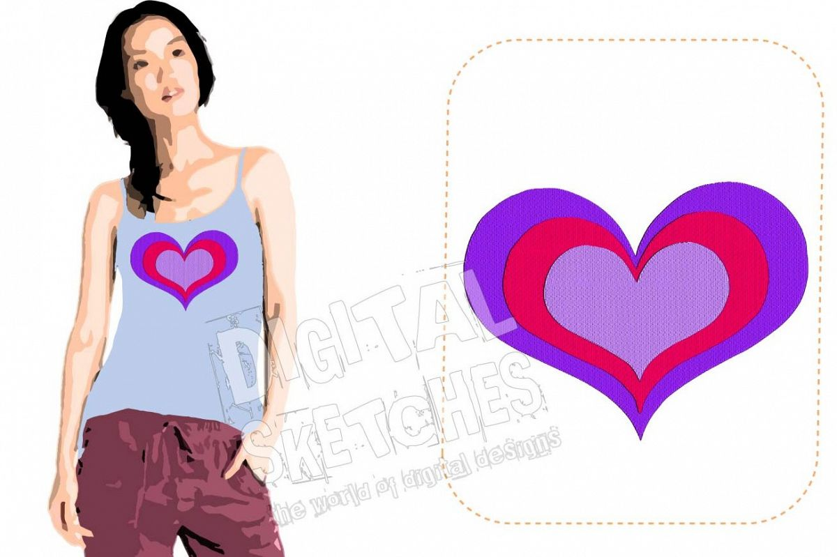 Heart Machine Embroidery Design 5 Sizes example image 1