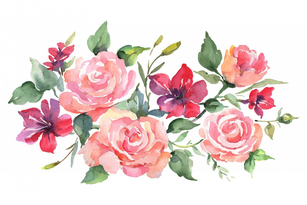 Roses bouquet joy of love watercolor png example image 1