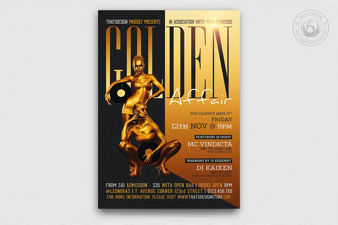Golden Affair Flyer Template example image 1
