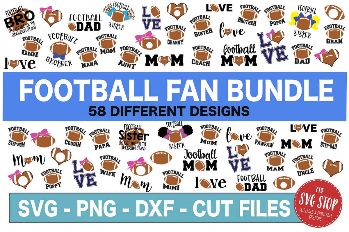 Football SVG Bundle -SVG, PNG, DXF example image 1