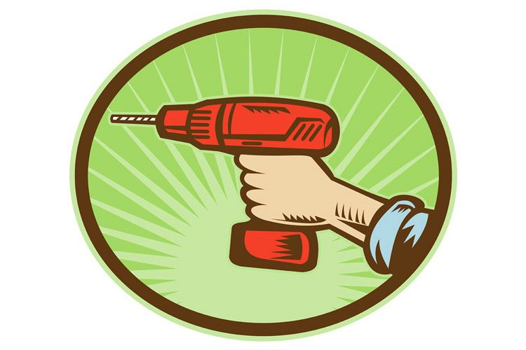 Hand holding a cordless drill side view example image 1