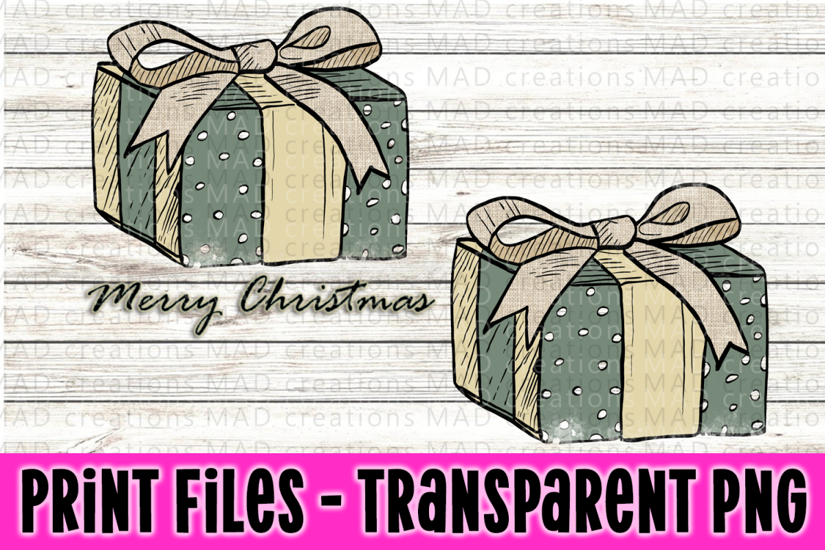Christmas Present - Rustic Blue and Tan - Print File example image 1