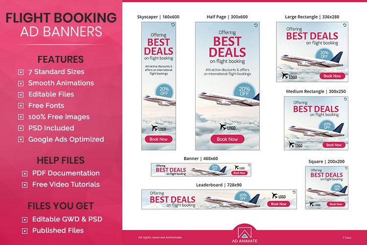 tour travel flight booking banner ad template tt001