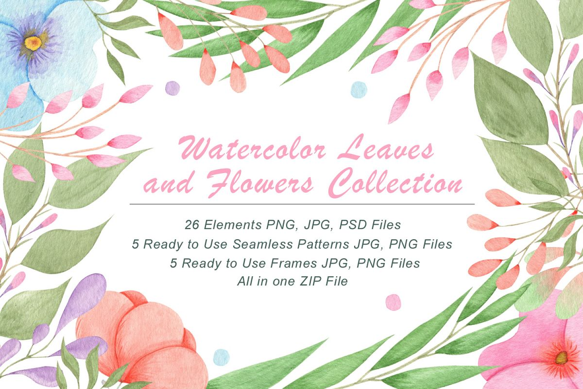 Watercolor Flowers and Leaves example image 1