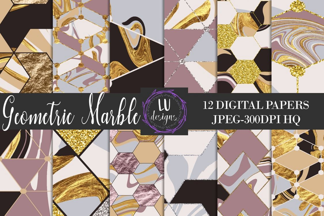 Geometric Marble Digital Papers, Geometric Backgrounds example image 1