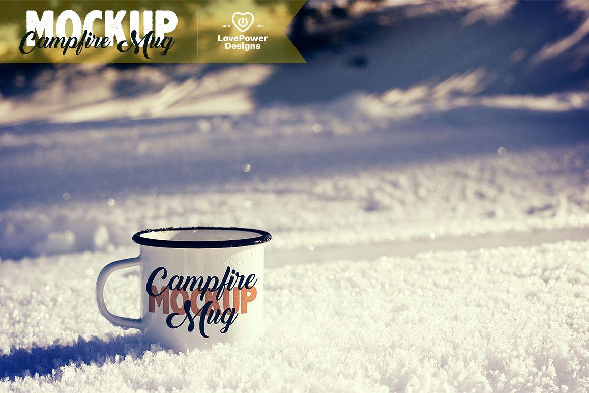 Enamel Mug Mockup / Tin Mug on Snow Mockup / Campfire Mug example image 1