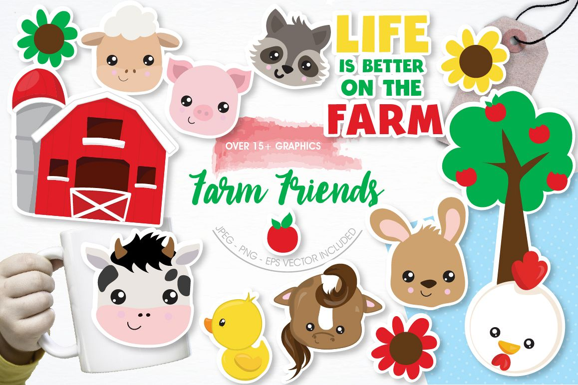Farm Friends graphics and illustrations example image 1