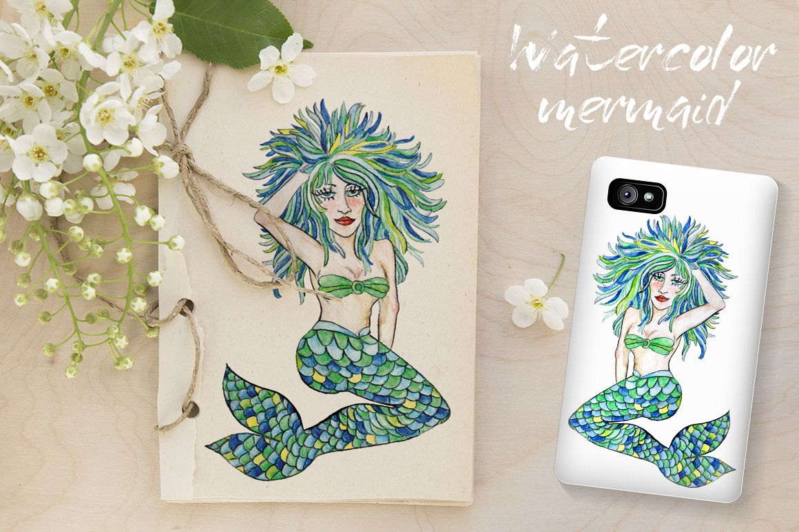 Watercolor mermaid with colorful hair example image 1