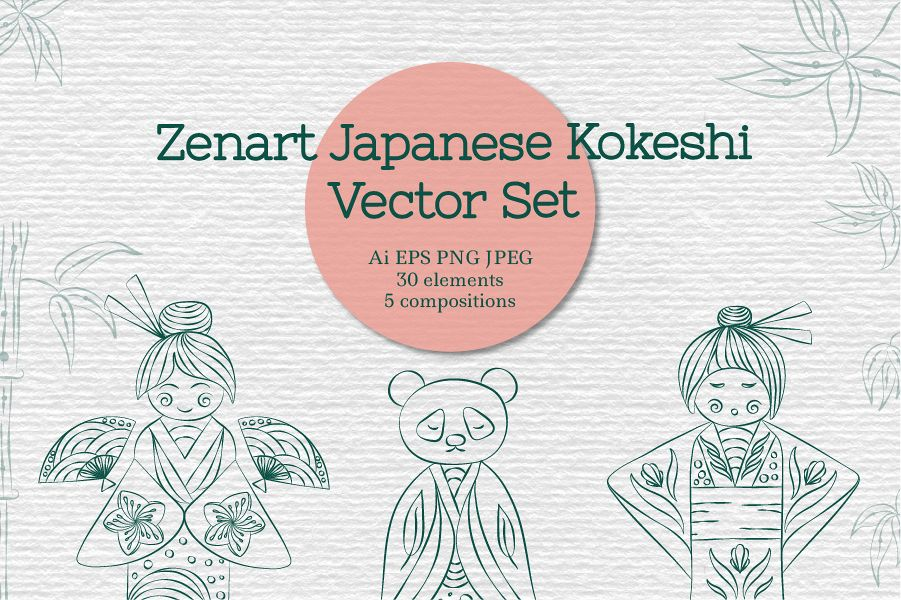 Zenart Japanese Kokeshi Vector Set example image 1