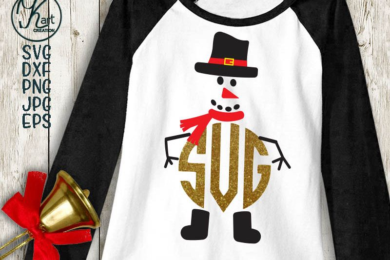 Snowman face with hat monogram clipart png svg dxf to cut example image 1