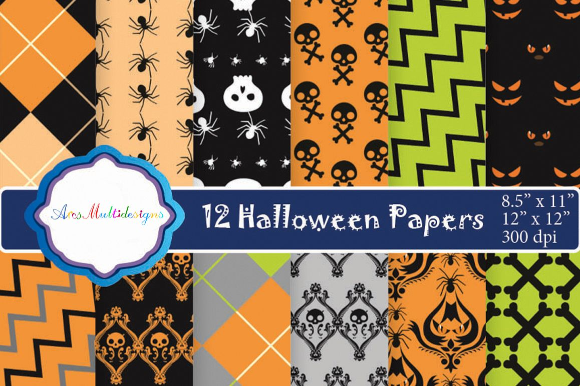 halloween digital paper / halloween clipart / high quality digital paper / 300 dpi in 2 different size / halloween patterns / JPG example image 1