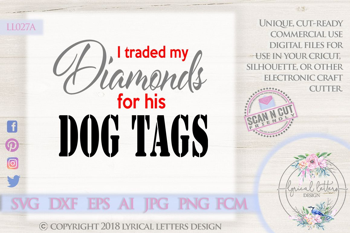 His and Hers Dog Tags Military Soldier SVG Cut File LL027F example image 1