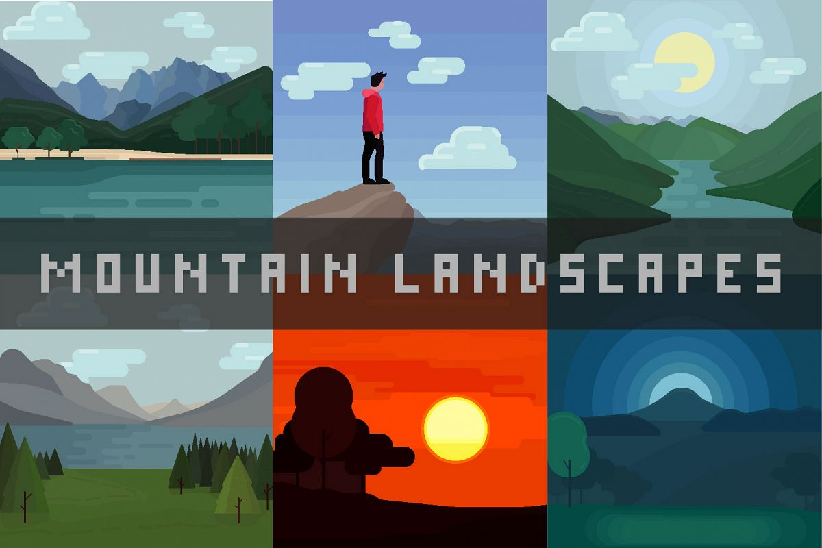 Mountain landscapes - Vector illustrations example image 1