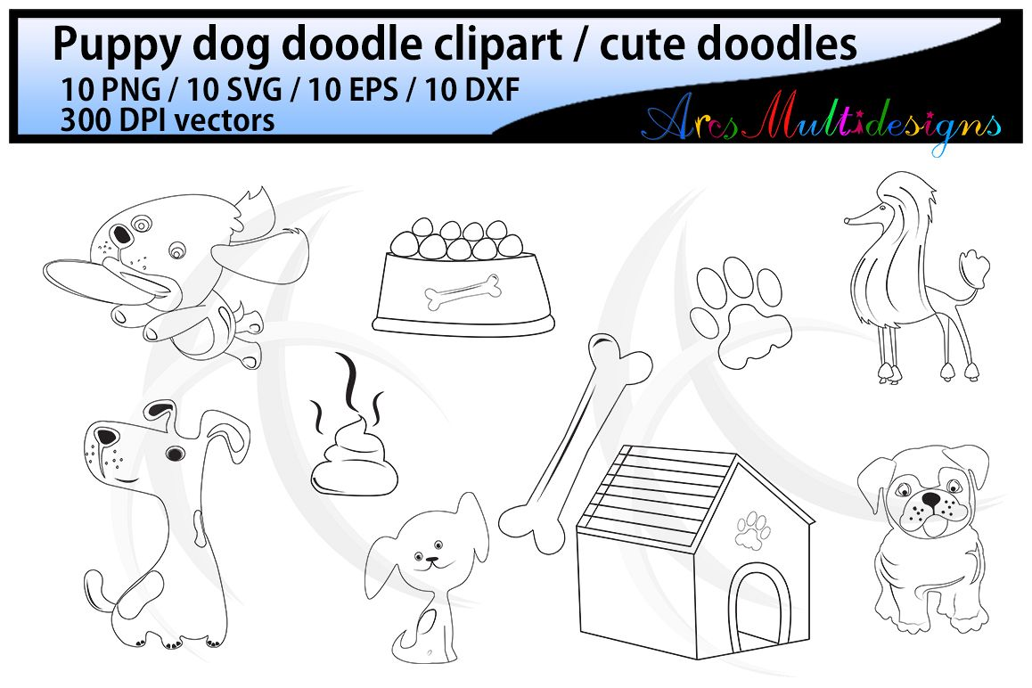 dog doodle clipart / hand drawn doodle dogs / cute puppy doodles / digital clipart / vector doodle / Eps / Svg / Dxf / Png / svg doodles / isolated example image 1