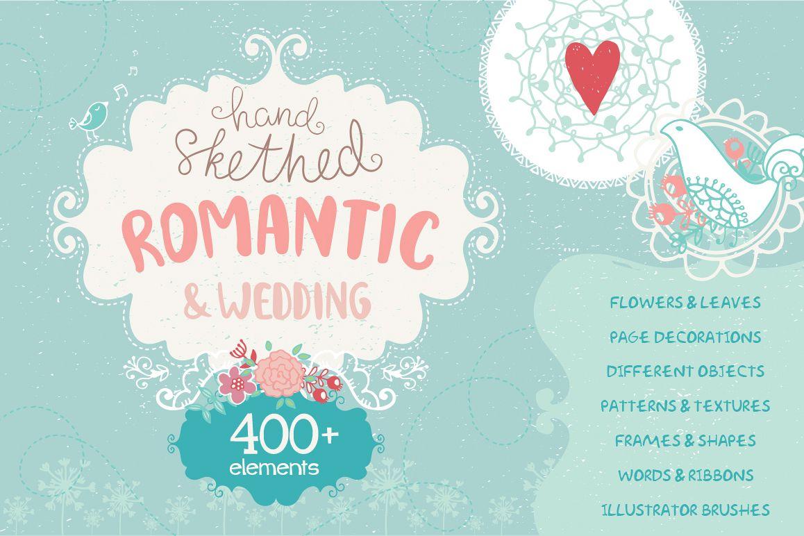 Romantic & Wedding Hand Drawn Set example image 1