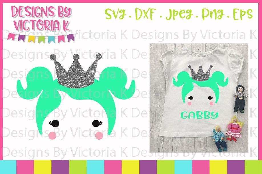 Doll, Dolly Head, Princess, SVG, DXF, PNG example image 1