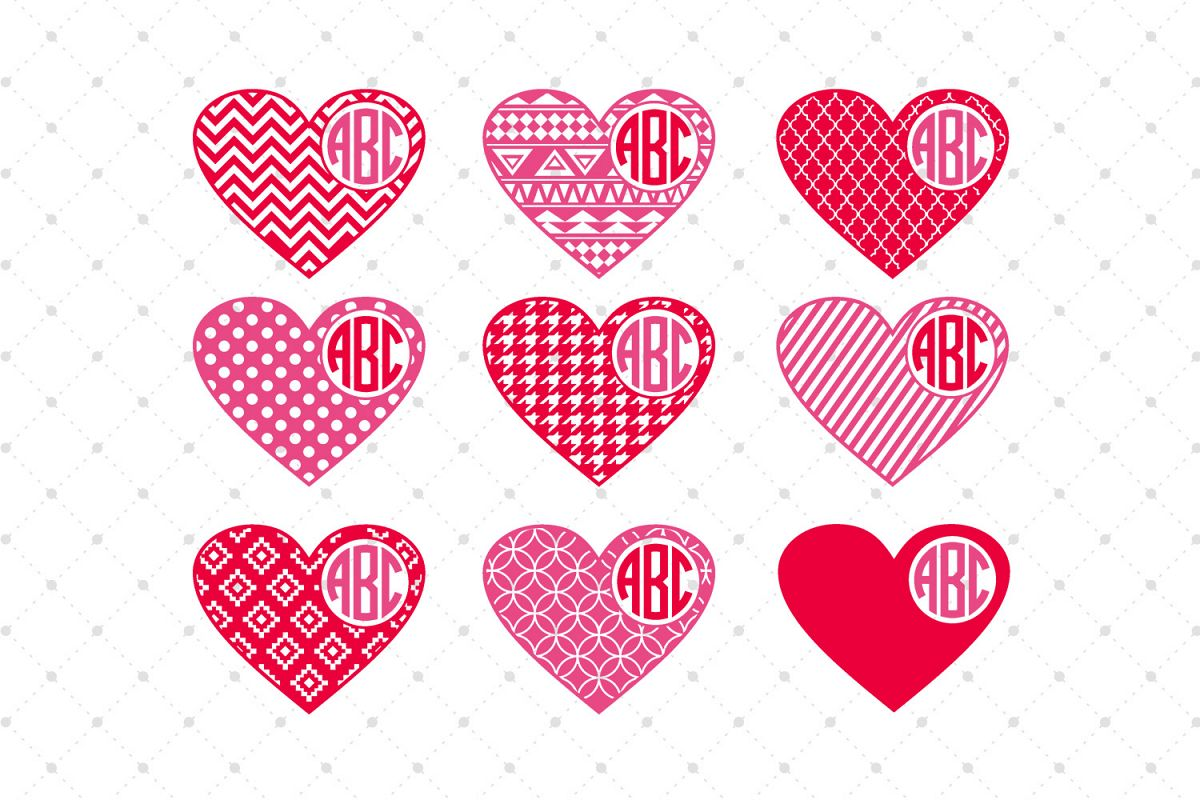 Valentines Day Hearts Monogram Frames Svg Cut Files