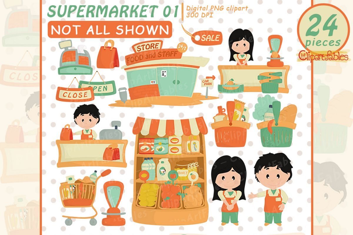 Cute supermarket clipart, Grocery clipart, Shop art- INSTANT example image 1