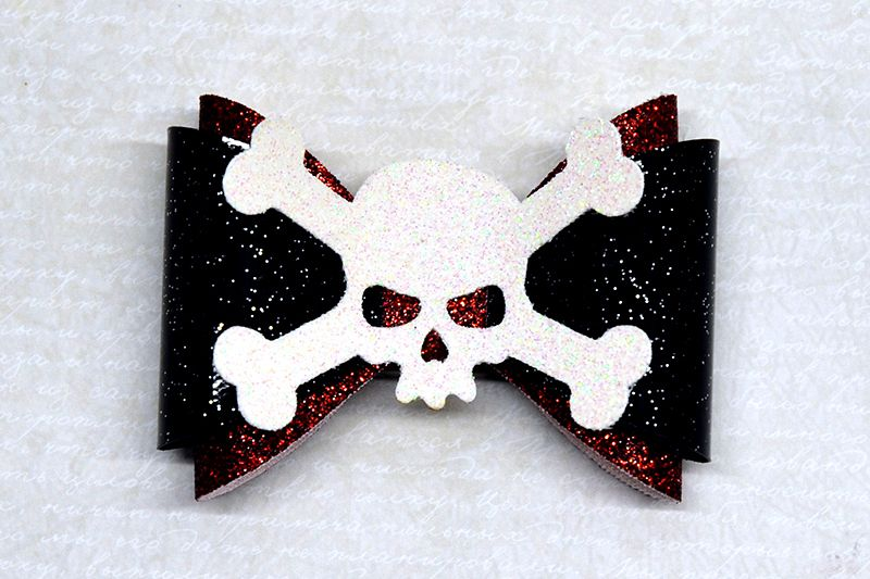 Skull Hair bow template SVG, DIY leather bow template example image 1