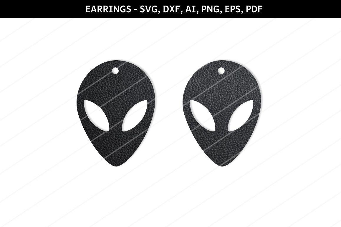 Alien Earrings svg,UFO earrings,Sci fi earrings,alien svg example image 1