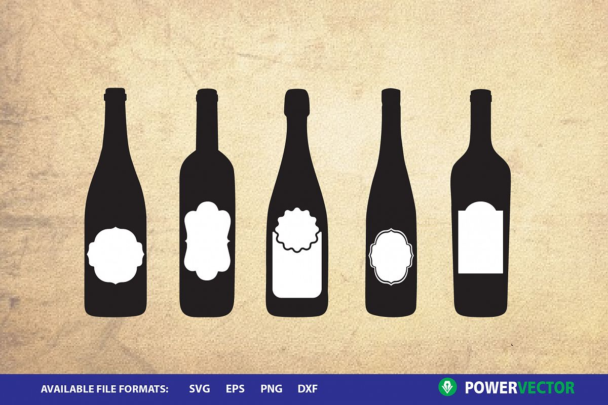 Wine Bottles Svg Clipart Files for Cricut, Silhouette example image 1