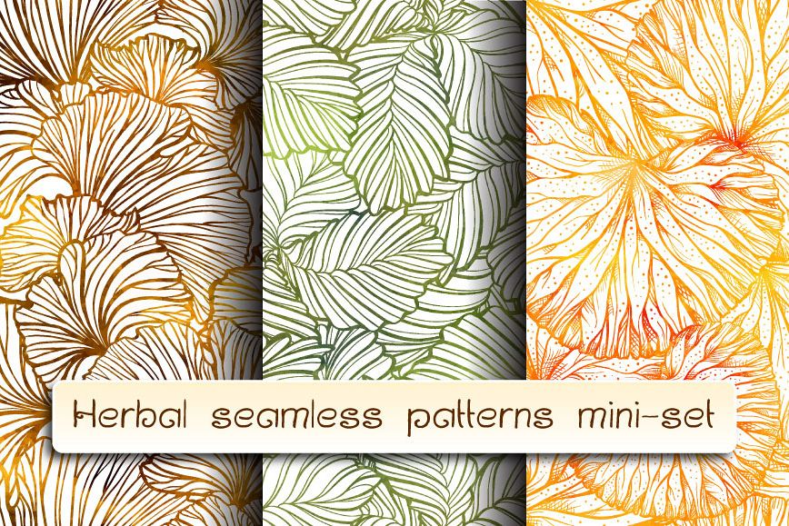 Herbal seamless patterns mini-set example image 1