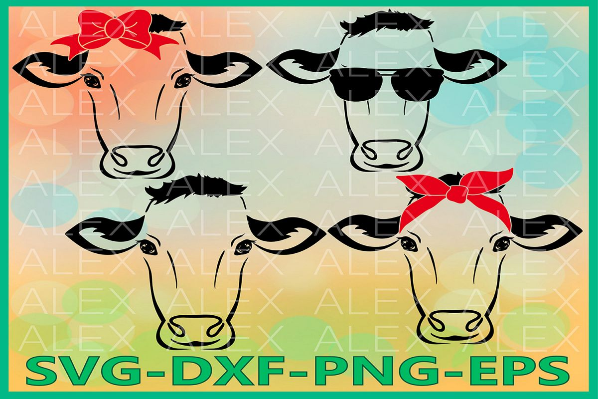 Cow Svg Files, Cow with Bandana svg, Cow Head Svg example image 1