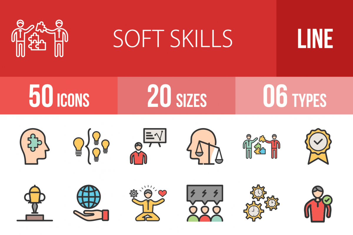 50 Soft Skills Linear Multicolor Icons example image 1