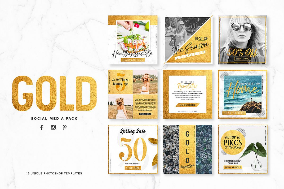 GOLD Social Media Pack example image 1