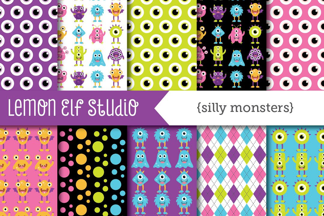 Silly Monsters-Digital Paper (LES.DP03B) example image 1