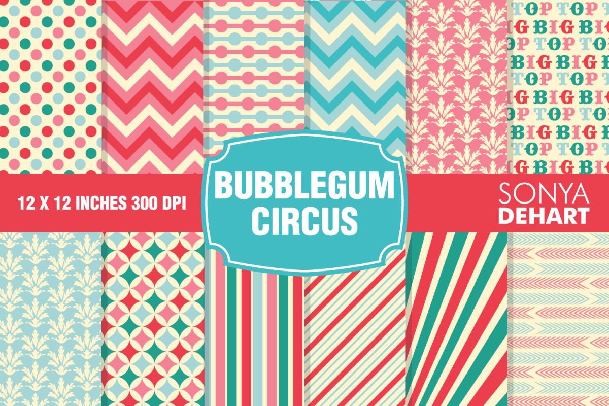 Bubblegum Circus Carnival Digital Paper Pattern Pack example image 1