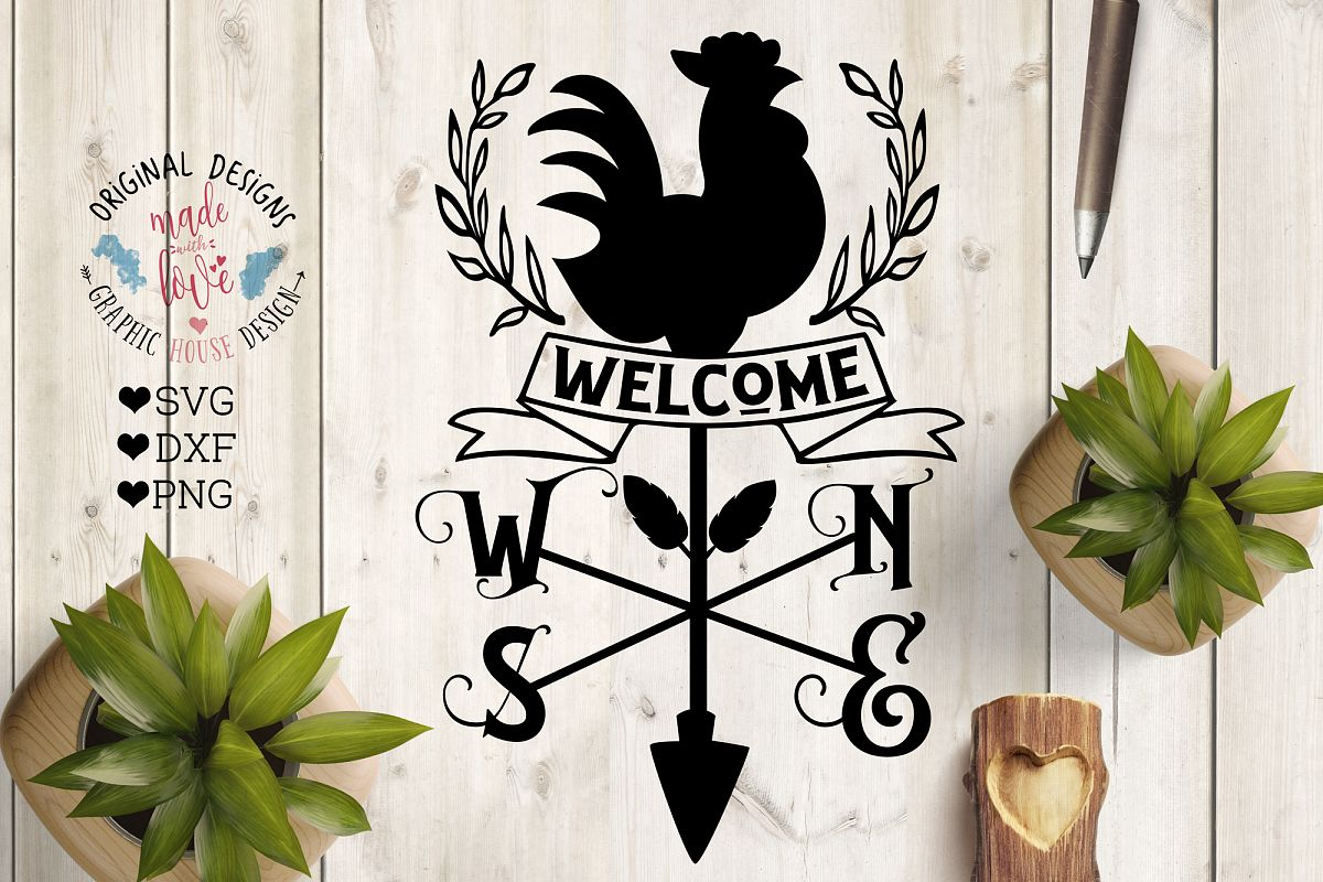 Welcome Rooster Wind Compass - Farm Cut File example image 1