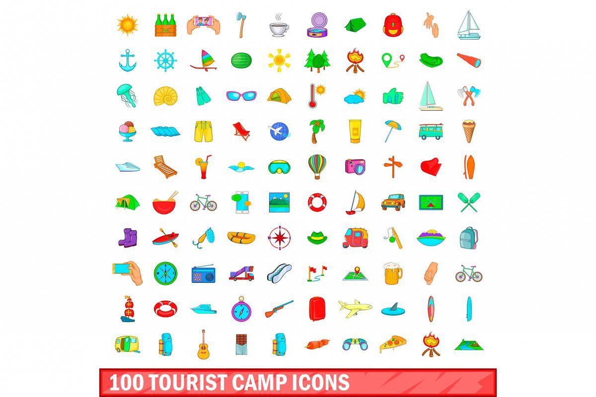 100 tourist camp icons set, cartoon style example image 1