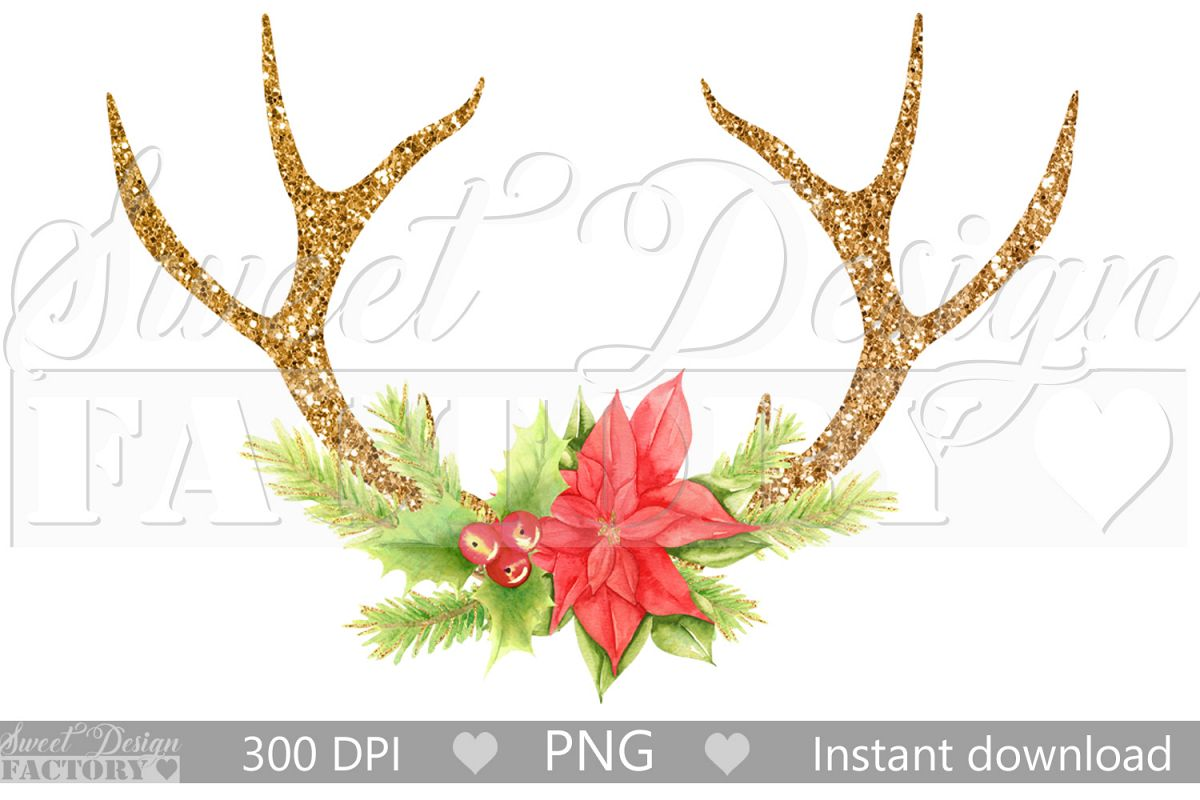 Antlers reindeer clipart example image 1