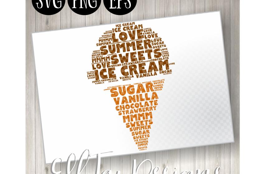 Ice Cream Word Art example image 1