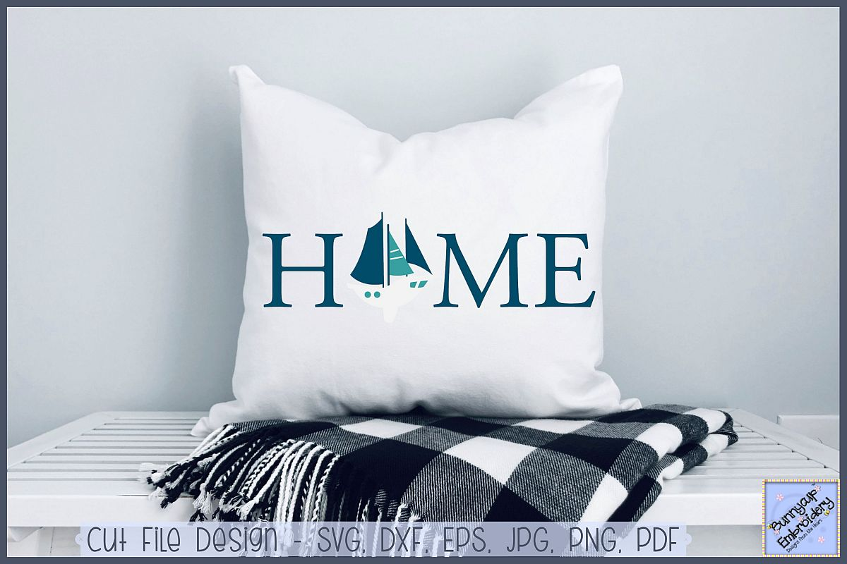 Home With Sailboat - SVG, Clipart, Printable example image 1