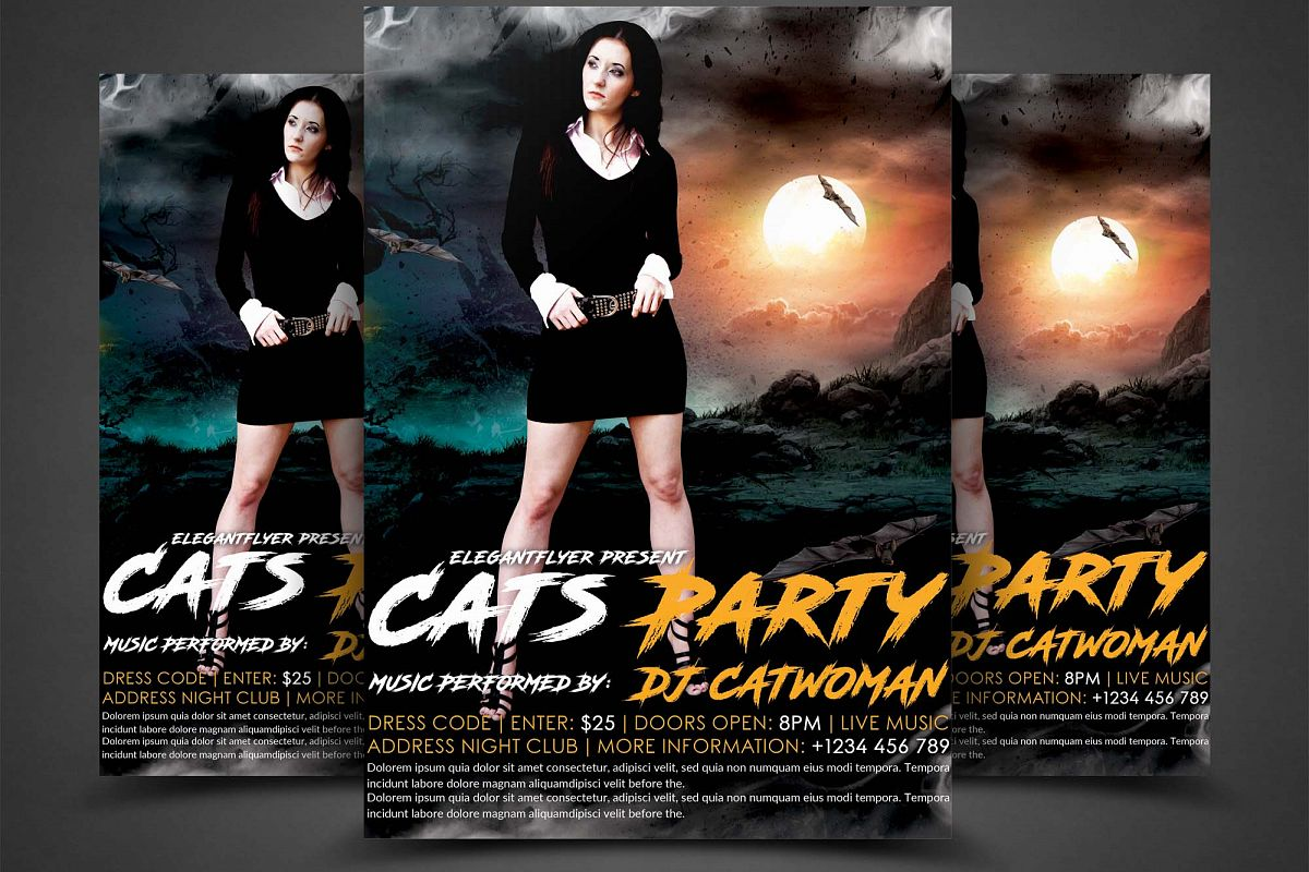 Cats Party Flyer  example image 1
