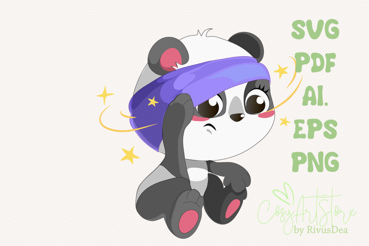Sick Panda SVG download, Panda PNG, Cute baby animal Cut example image 1