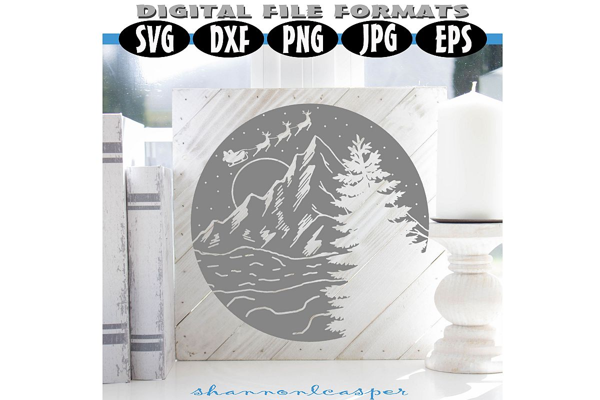 Christmas Night in the Mountains SVG example image 1