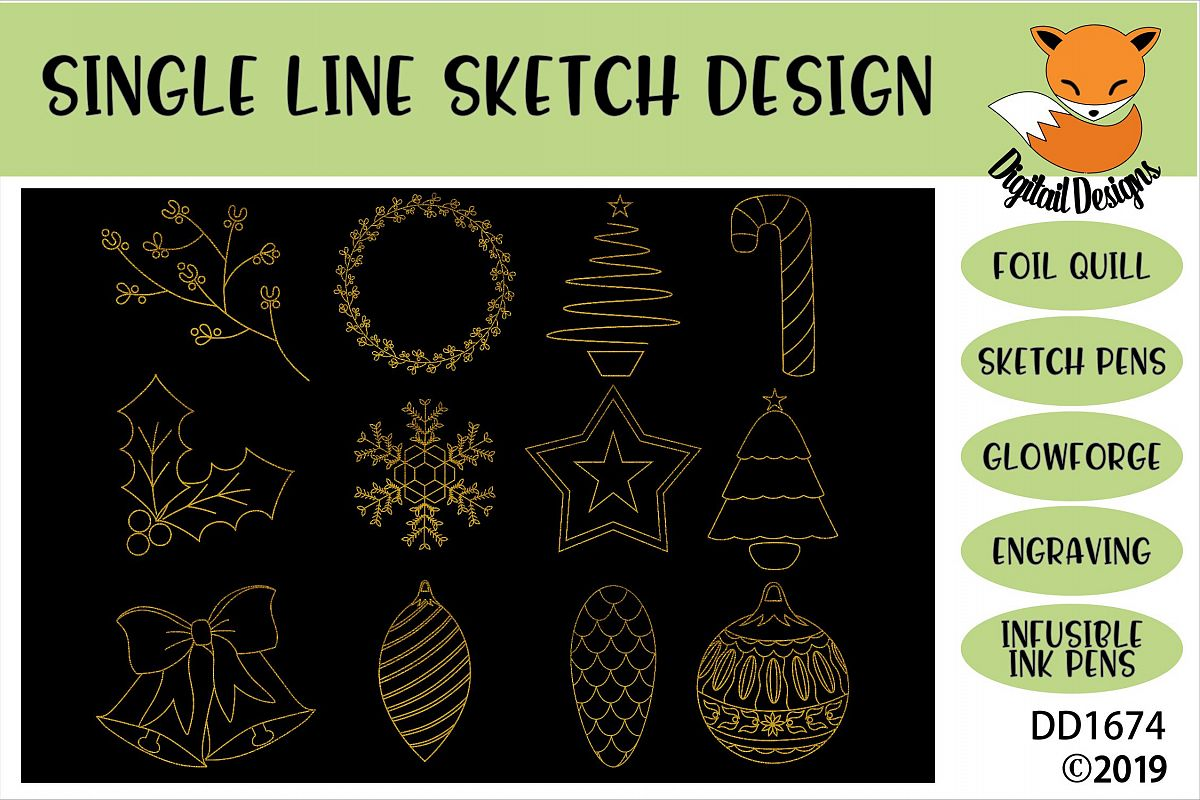 Foil Quill Christmas Illustration Doodle Bundle example image 1