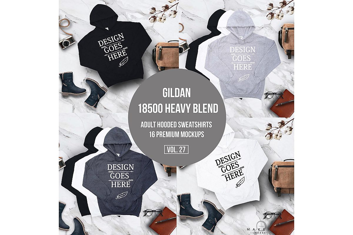 Hoodie Mock-up, Gildan 18500 Sweaters/ Hooded Sweater example image 1
