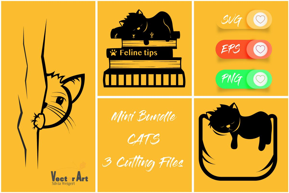 Mini Bundle - 3 Cat Themes - Cut files example image 1