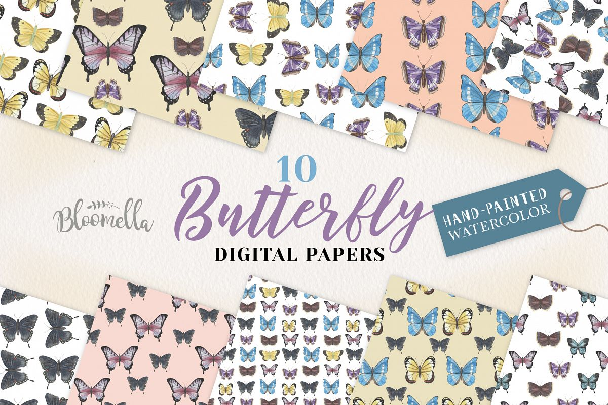 Butterfly Seamless Patterns Digital Papers Butterflies example image 1