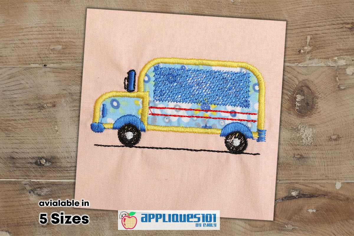 School Bus Embroidery Applique Design - Buses example image 1
