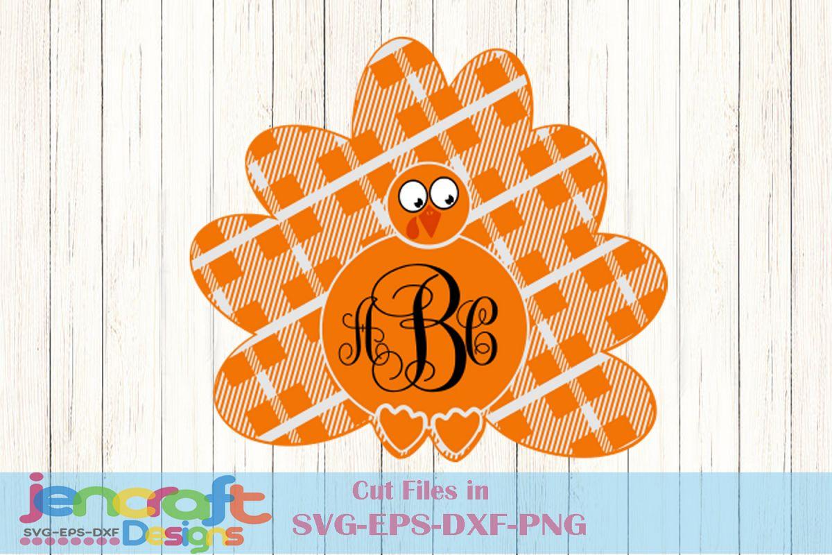 Plaid Turkey SVG - Thanksgiving Turkey Monogram Frame Svg example image 1