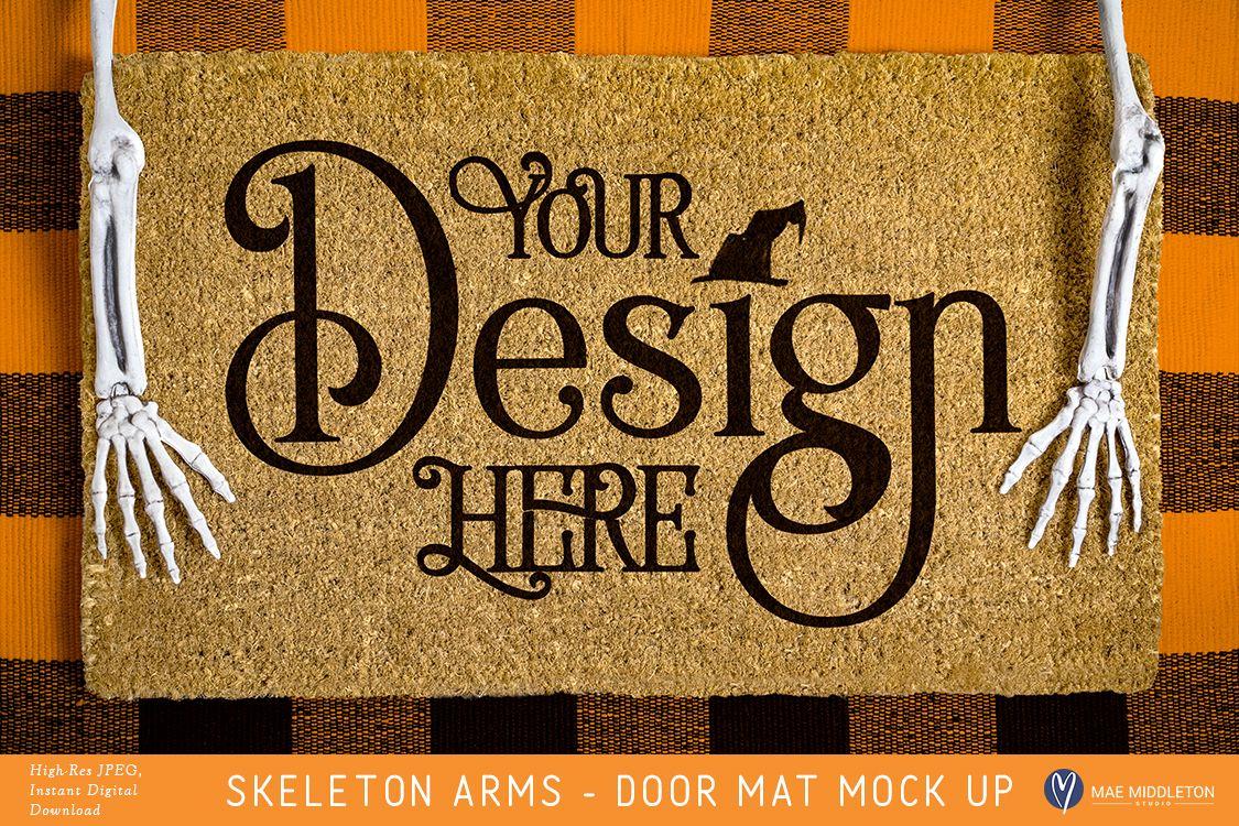 Halloween Door Mat mock up, styled photo example image 1