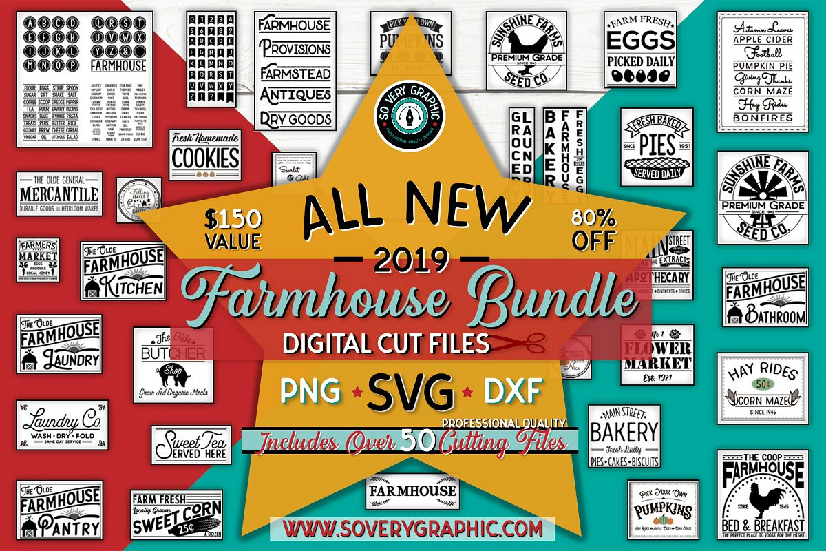 Vintage Farmhouse Bundle | Over 50 Designs | SVG Cut Files example image 1