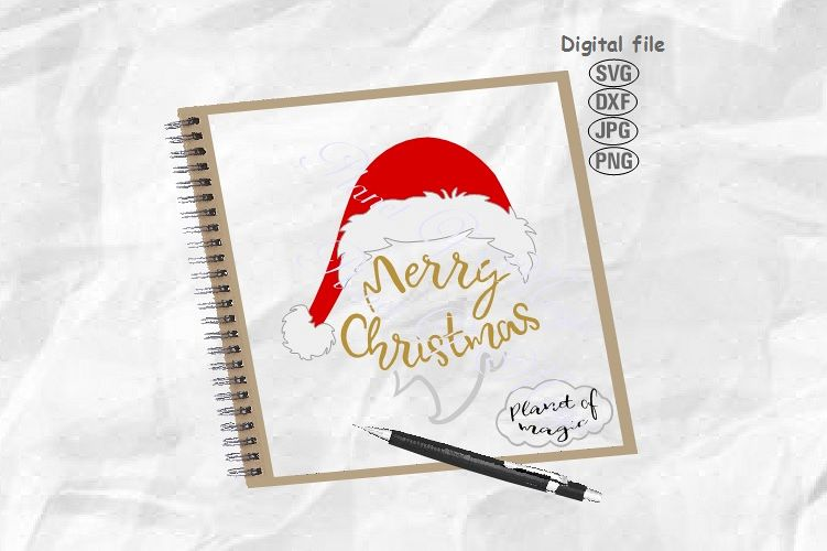 Merry Christmas Svg, Santa Hat Svg, Christmas Svg example image 1