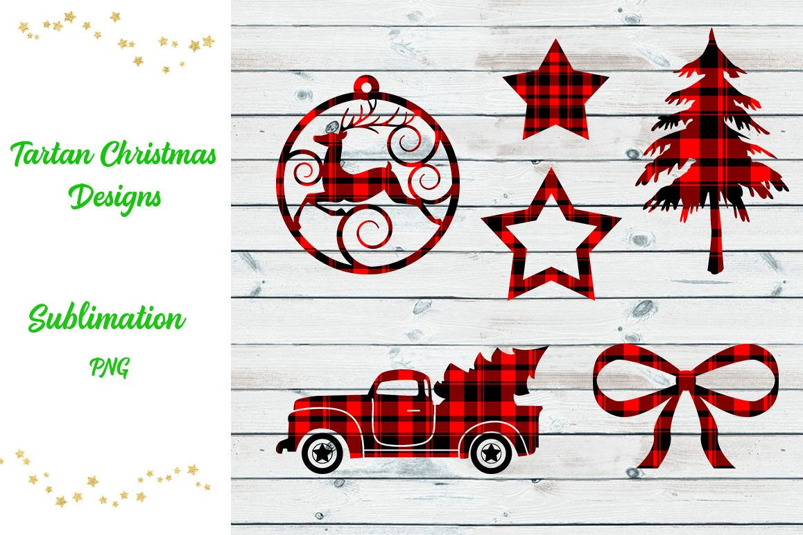 Tartan Sublimation Christmas Designs example image 1