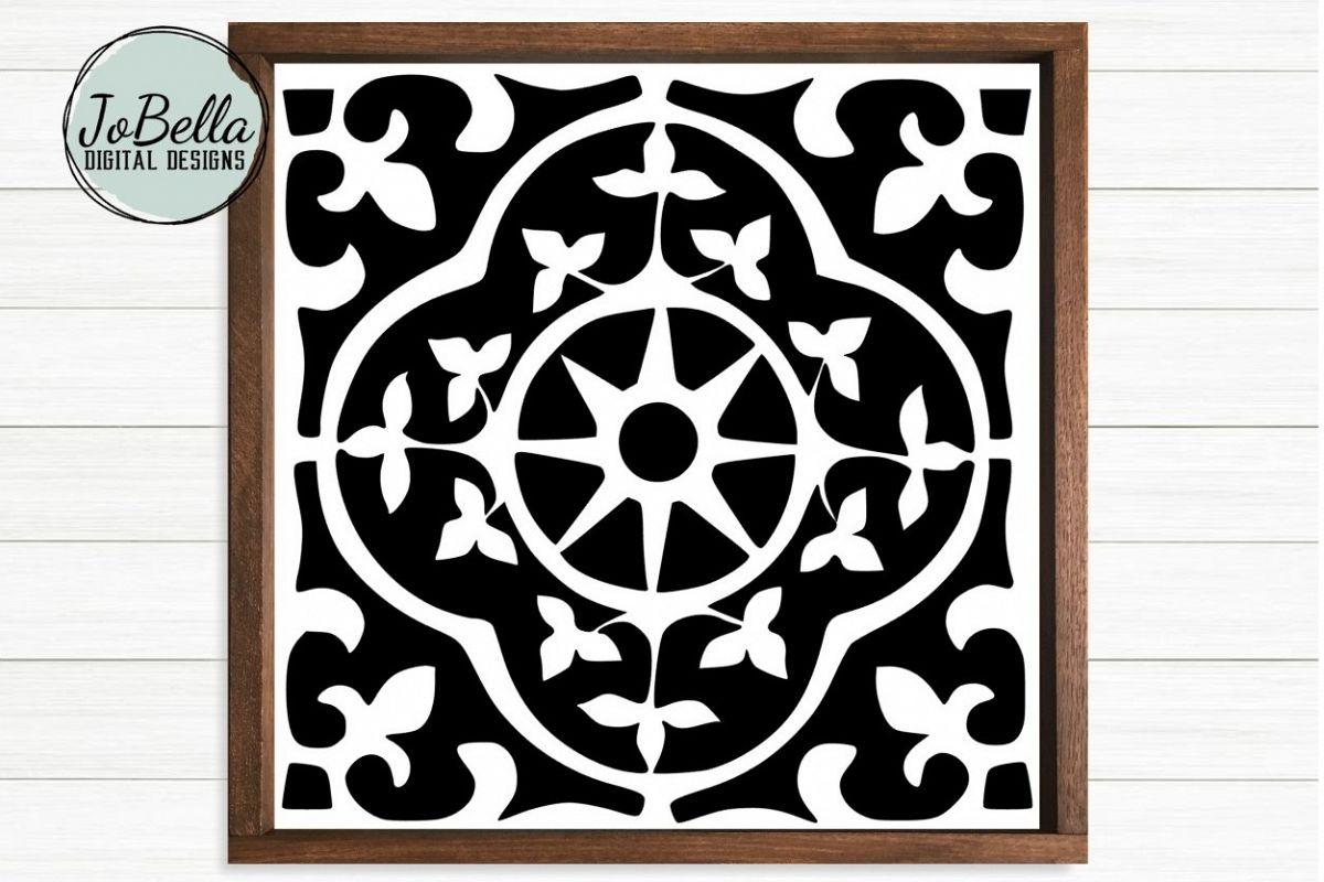 Spanish Tile 3 SVG, Stencil Template and Printable example image 1